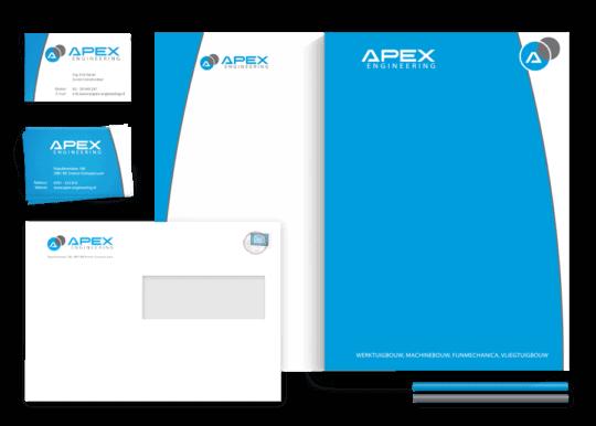 gonzodesign is gevraagd een nieuw logo en huisstijl te ontwerpen voor Apex Engineering