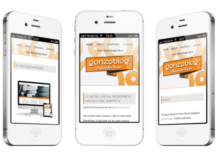 Een responsive WordPress website, custom-made voor mijn eigen Engelstalige blog: gonzoblog