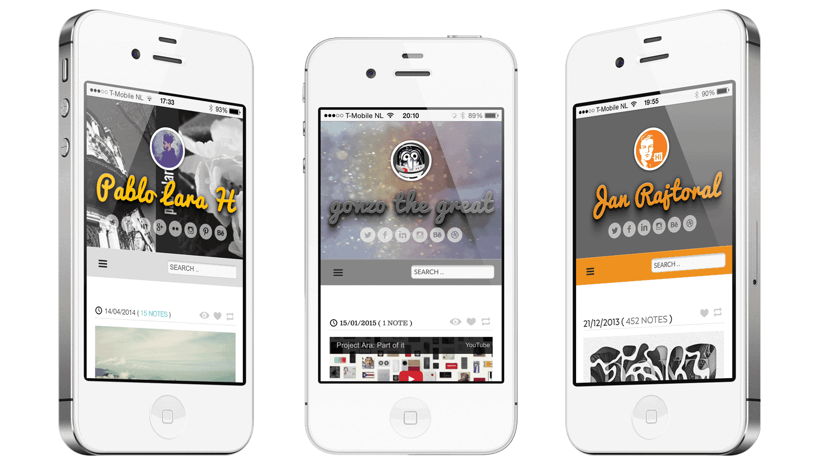 Voorbeelden van personalisatie van het Tumblr Theme op een mobiele telefoon. Alles is aan te passen in dit premium Tumblr theme.