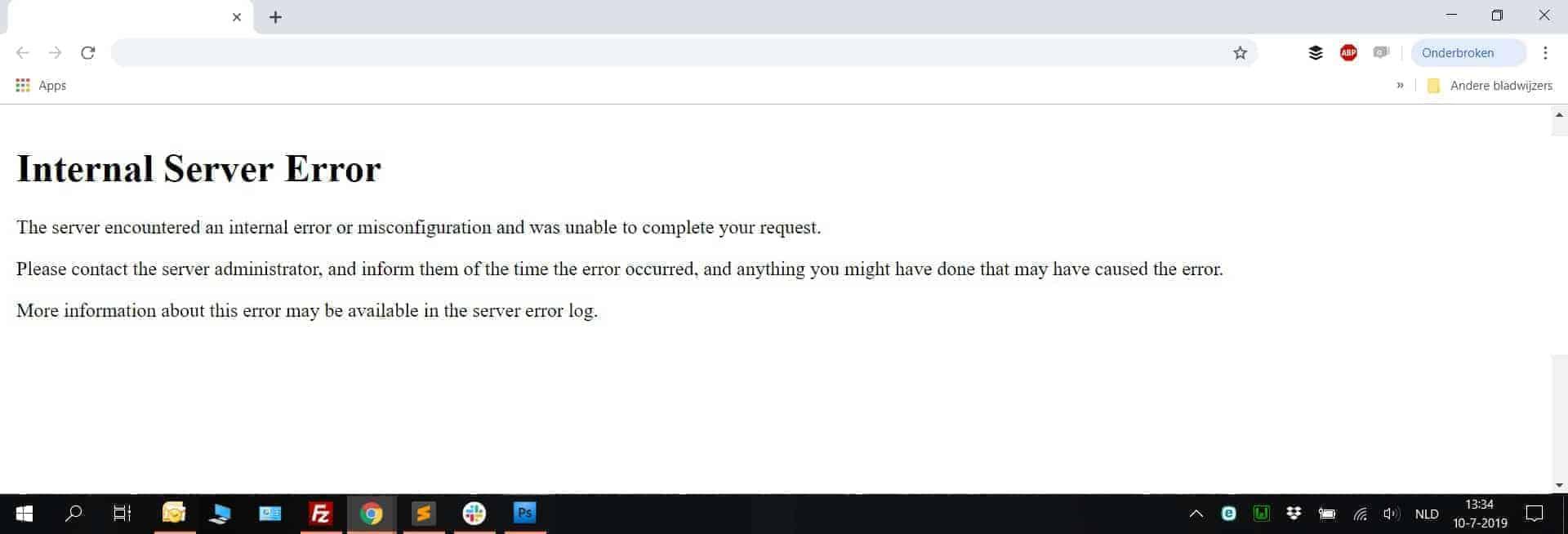 Afbeelding (screenshot) van een 500 Internal Service Foutmelding