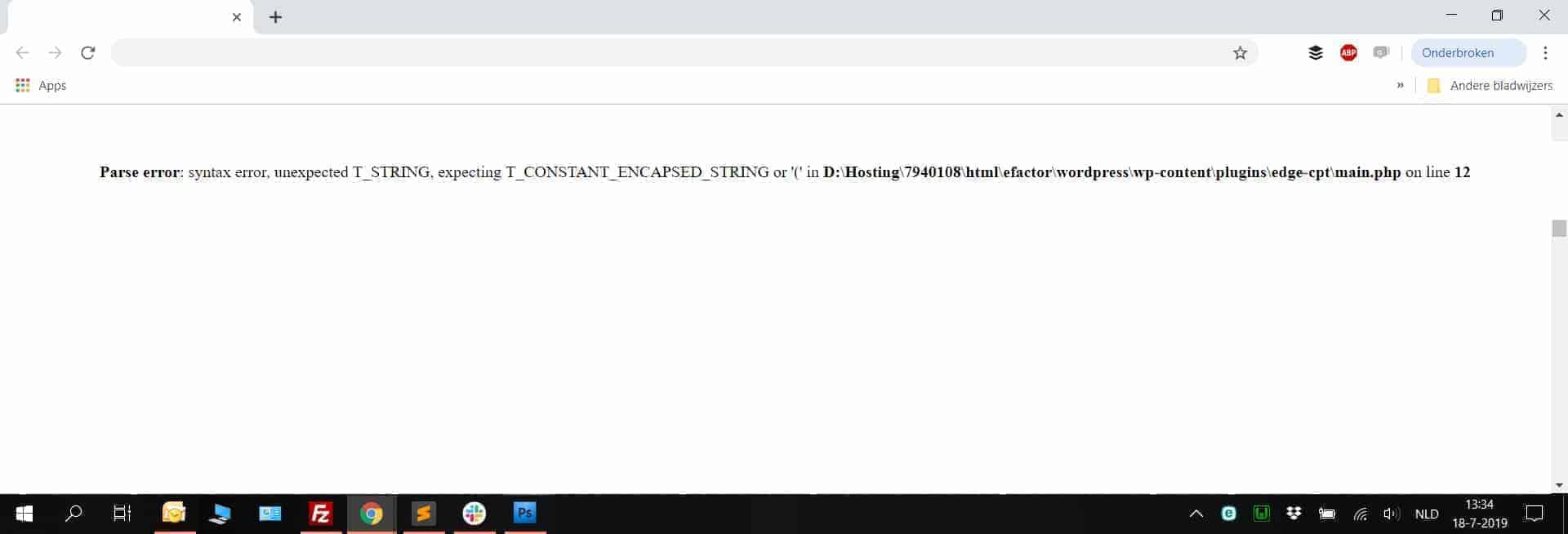 Afbeelding van een 'Parse/Syntax' Foutmelding in WordPress