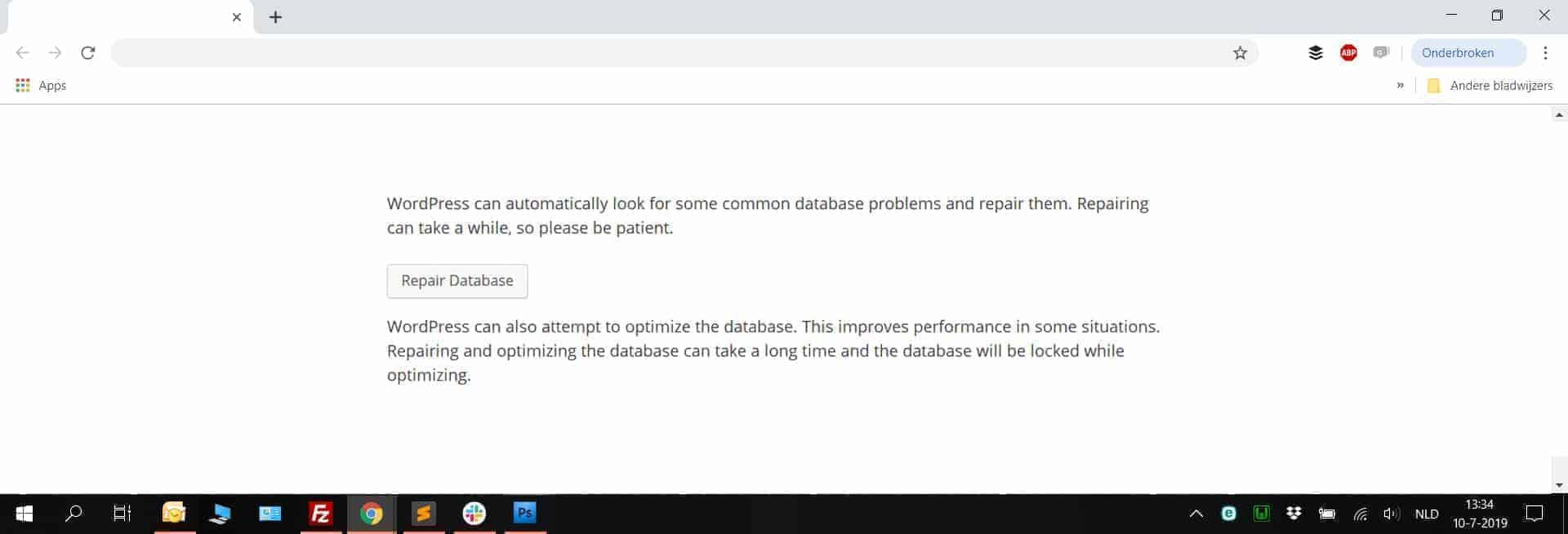 Afbeelding van de WordPress 'Repair Database' Functie zoals deze op het beeldscherm verschijnt