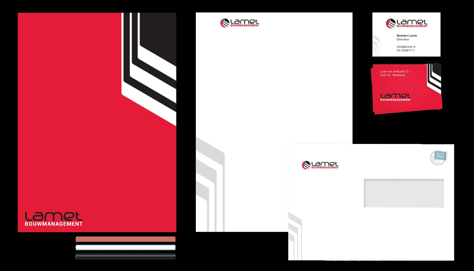 Afbeelding met alle Huisstijlelementen die gonzodesign voor Lamet heeft ontworpen. Van links naar rechts: briefpapier (voor- en achterzijde), visitekaartjes (voor- en achterzijde) en een enveloppe met venster
