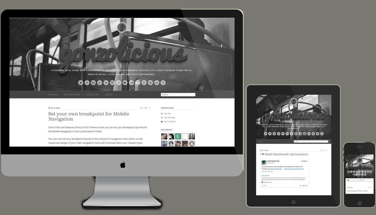 Afbeelding van het Responsive Premium Tumblr Theme gonzolicious op een desktop monitor, tablet en mobiel