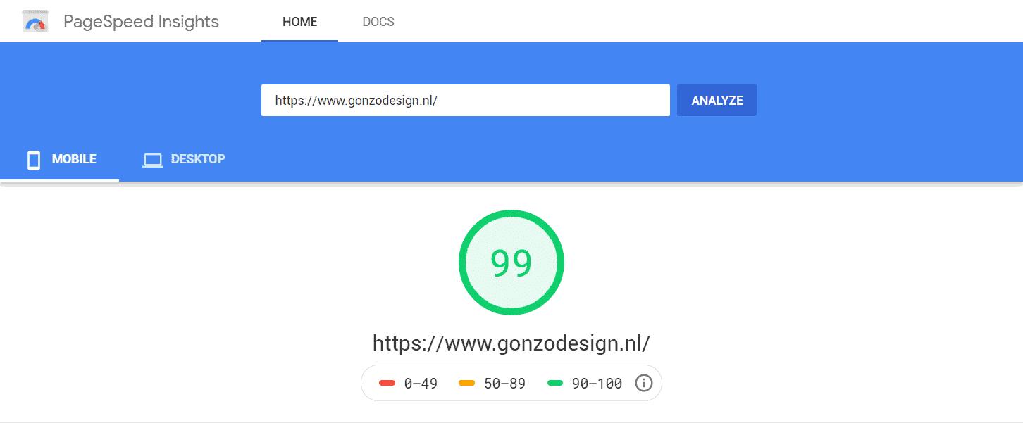 Screen shot van van de webpagina van google insight pagespeed: 99 op mobiel! Hoorah!