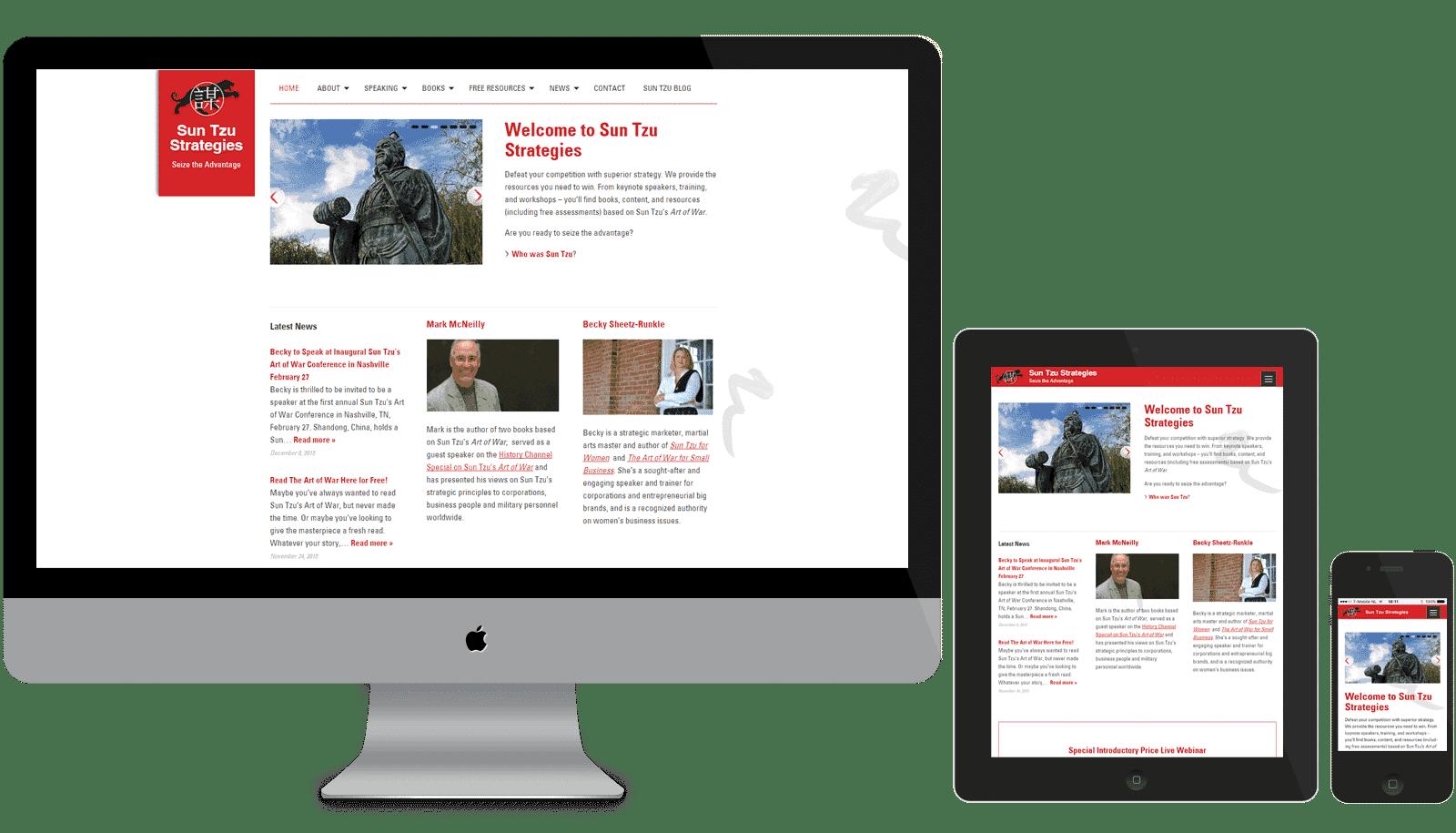 Responsive WordPress theme gemaakt voor SunTzu Strategies (Amerika). Op de afbeelding staan een desktop monitor, een tablet en een mobiel met de website in beeld