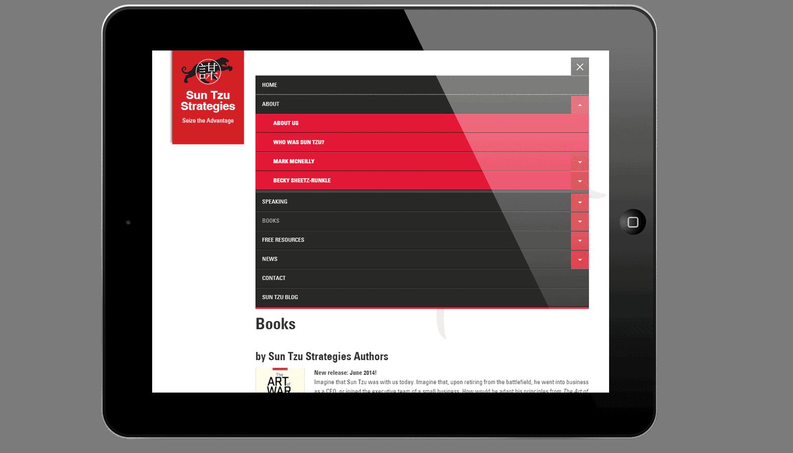 Afbeelding hoe de mobiele navigatie openklapt op een tablet