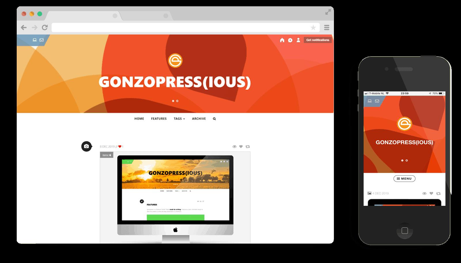 premium Tumblr theme gonzopressious
