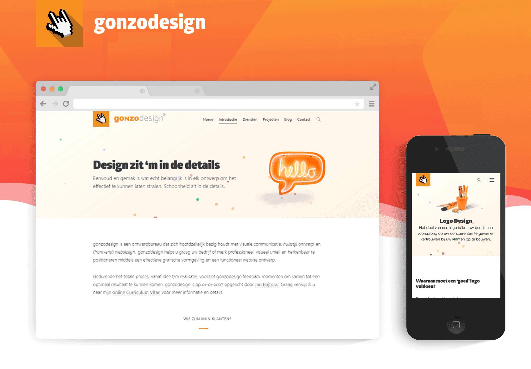 Presentatie afbeelding van een laptop beeldscherm en iPhone beeldscherm van de nieuwe versie van gonzodesign.nl