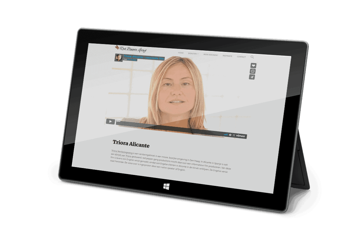 Projectpagina met Vimeo video als featured image op een tablet