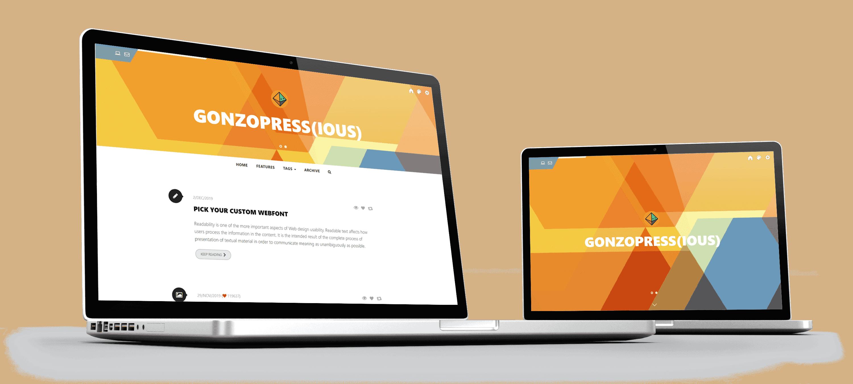 Foto van een fixed header en een full height header, keuze kun je maken in het customization panel van dit Tumblr theme