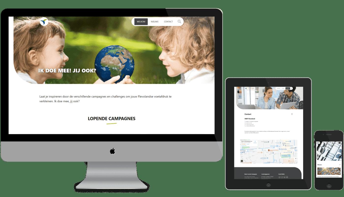 Een responsive WordPress theme, ziet er goed uit op laptop, tablet en mobiel.