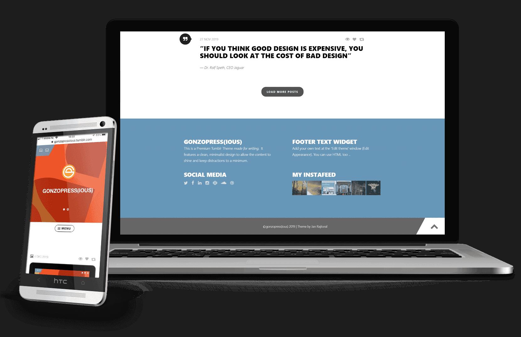 Responsive premium Tumblr theme te zien op mobiel en laptop