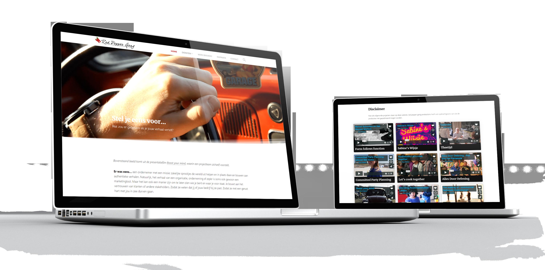 Screenshots van de homepage en van de portfolio bladzijde op een Mac Pro laptop