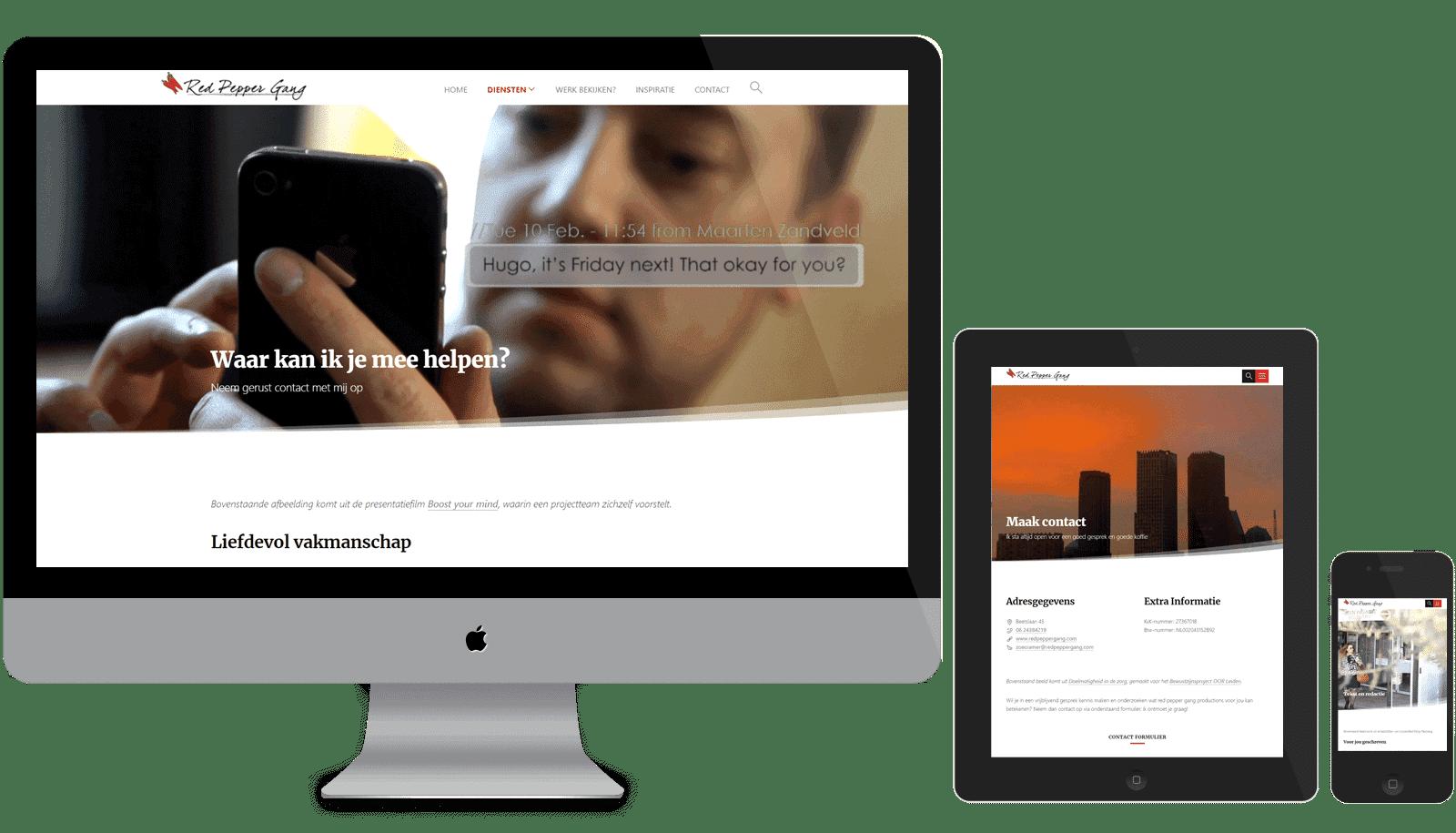 Responsive WordPress Theme voor Red pepper gang op verschillende beeldschermformaten