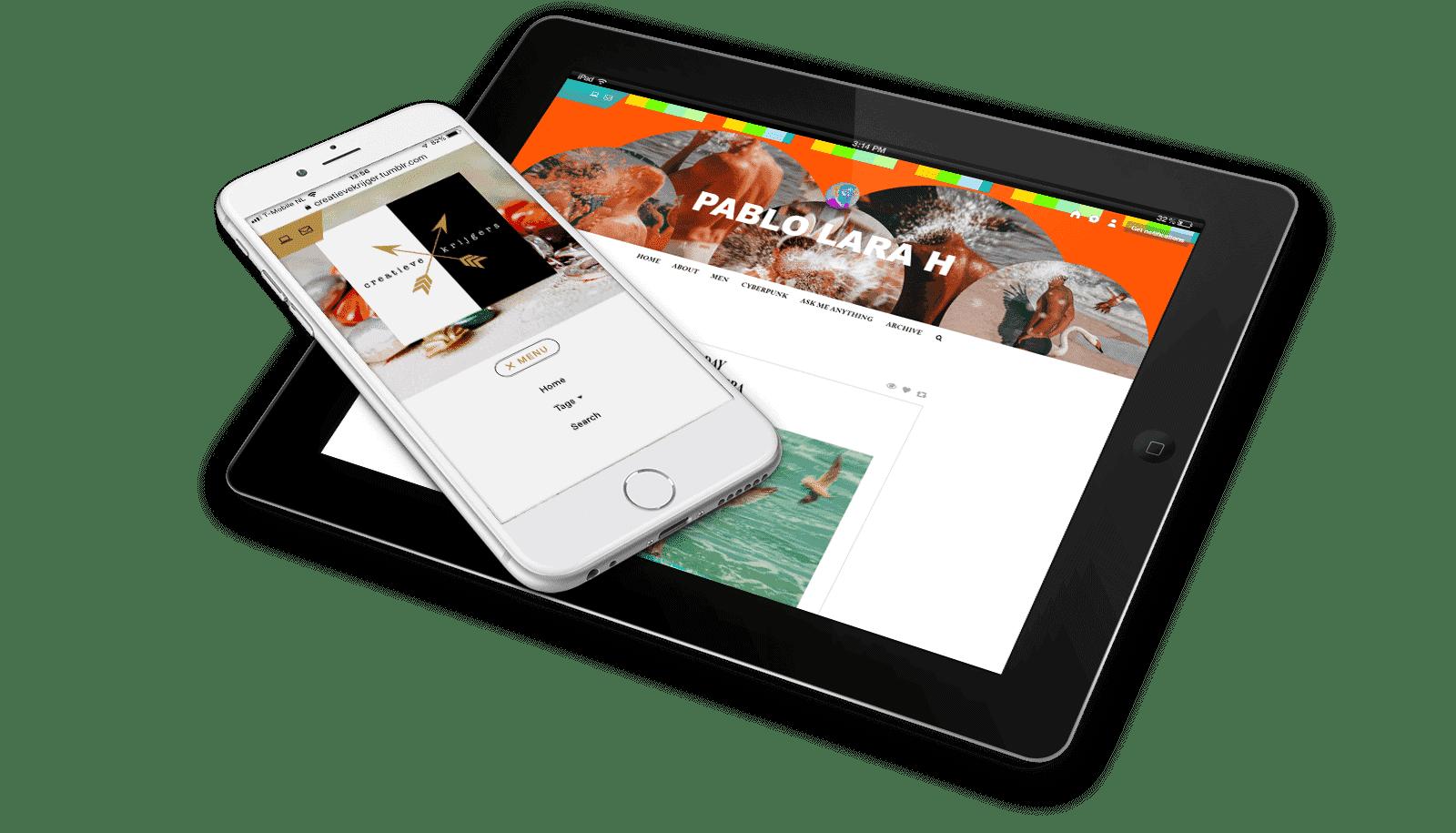 Responsive premium Tumblr theme te zien op een mobiel en op een tablet