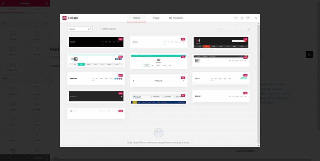 Screenshot van de Elementor Template Library